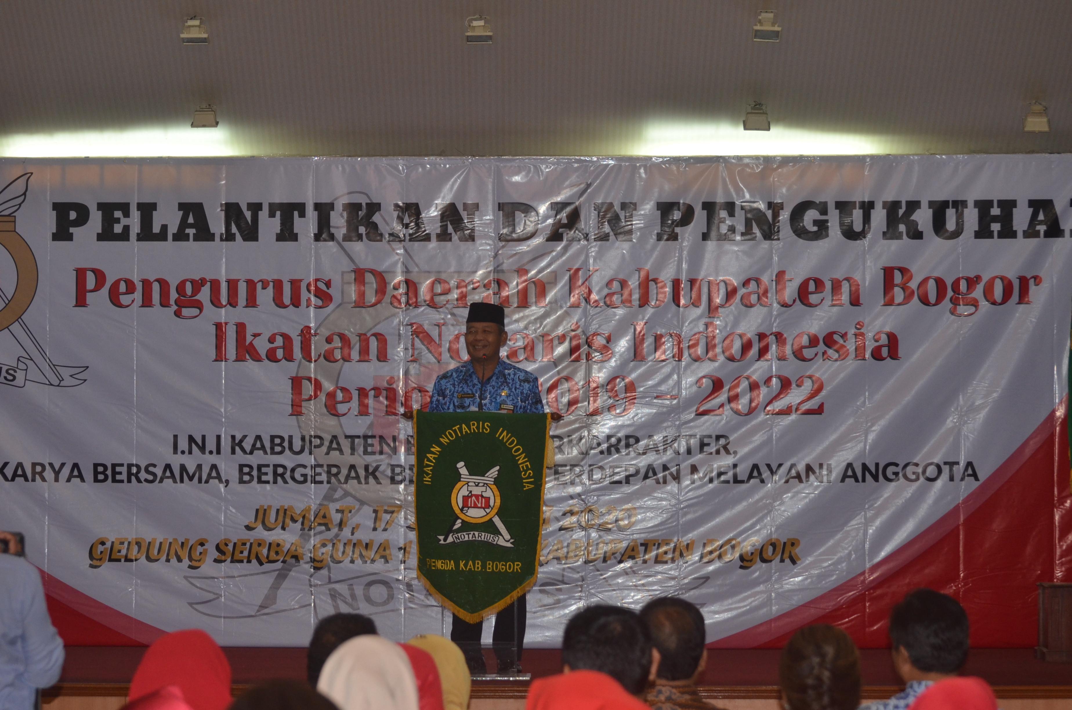 Pelantikan Dan Pengukuhan Pengda Ikatan Notaris Indonesia Kabupaten Bogor Periode 2020 – 2022