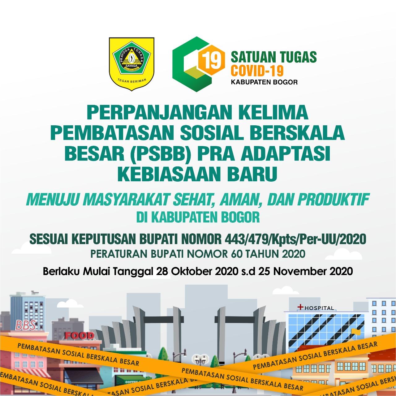 Kabupaten Bogor Kembali Perpanjang PSBB Pra Adaptasi Kebiasaan Baru