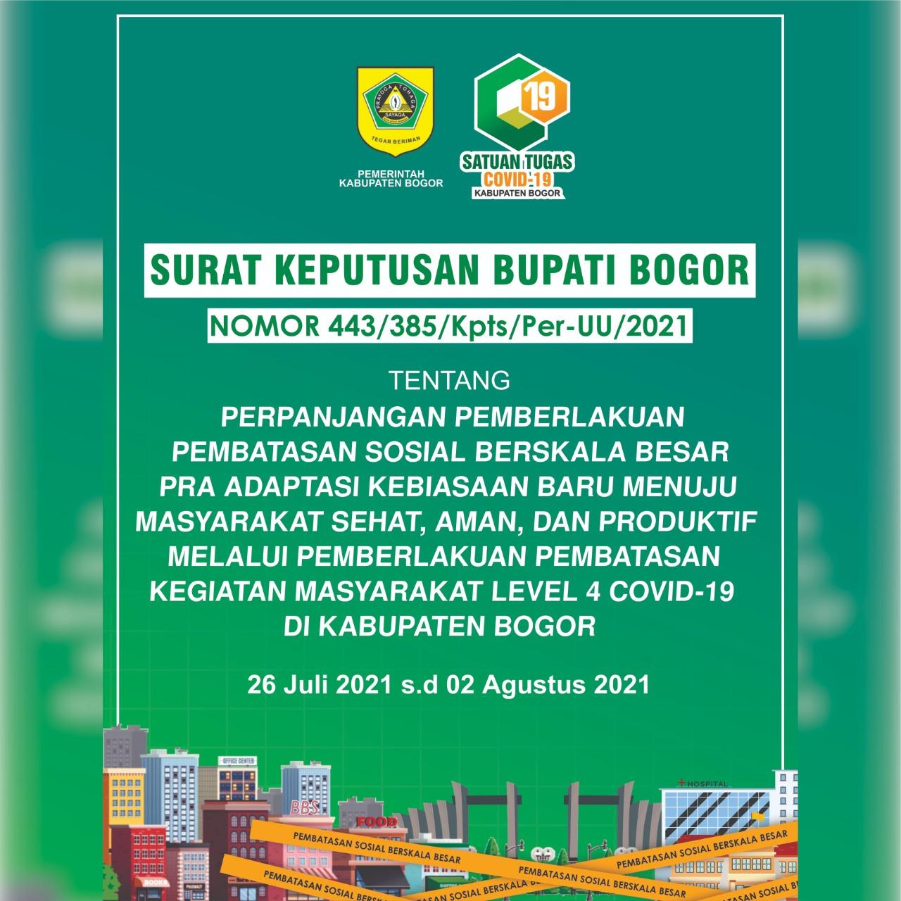 Pelonggaran Aturan Pada Perpanjangan PPKM Level 4 Di Kabupaten Bogor
