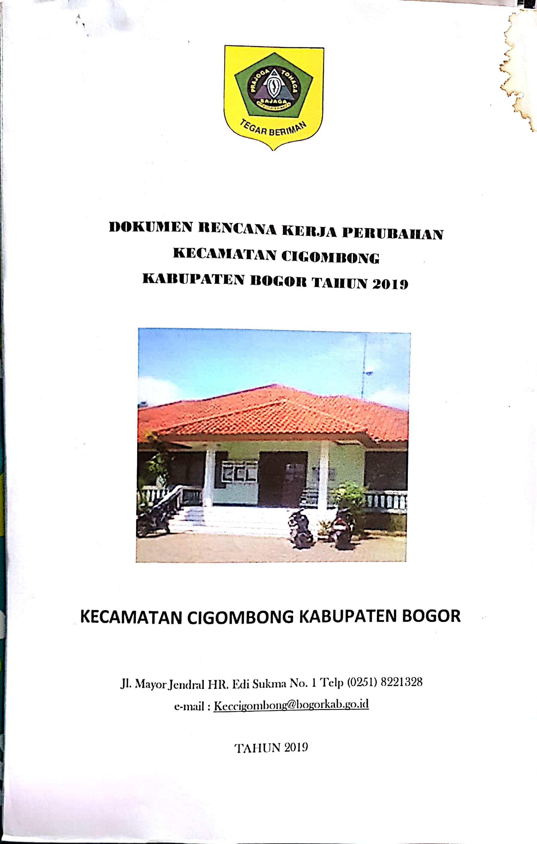 Dokumen Rencana Kerja Perubahan (RENJA-P) 2019 Kecamatan Cigombong