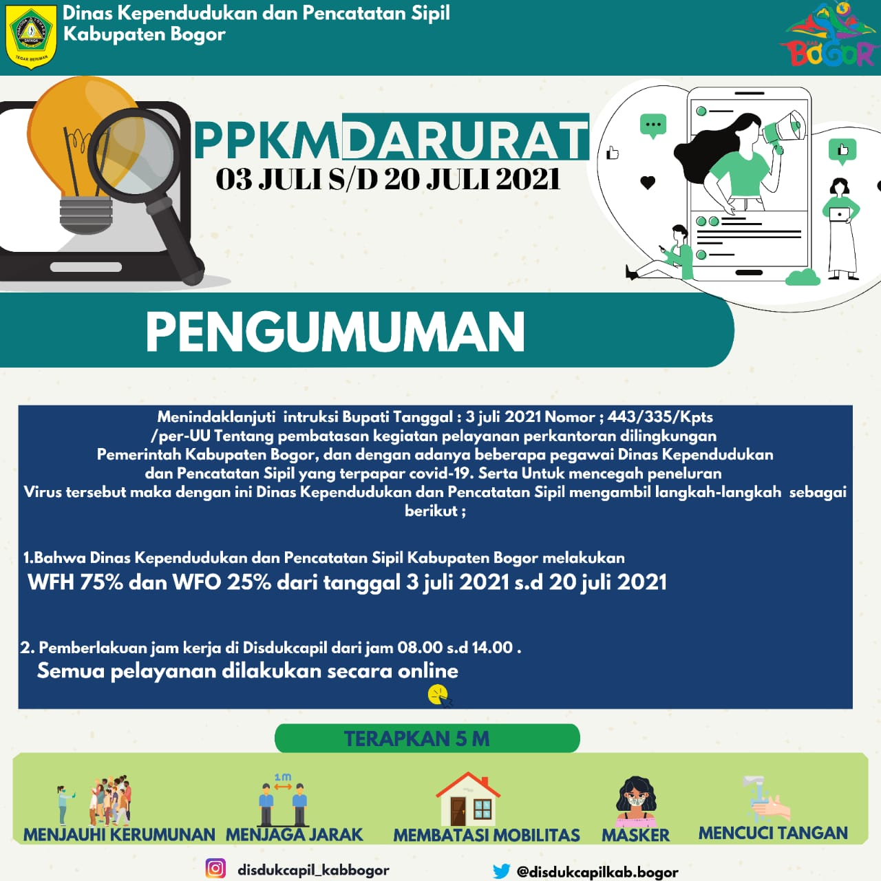 Informasi PPKM DARURAT Disdukcapil Kabupaten Bogor