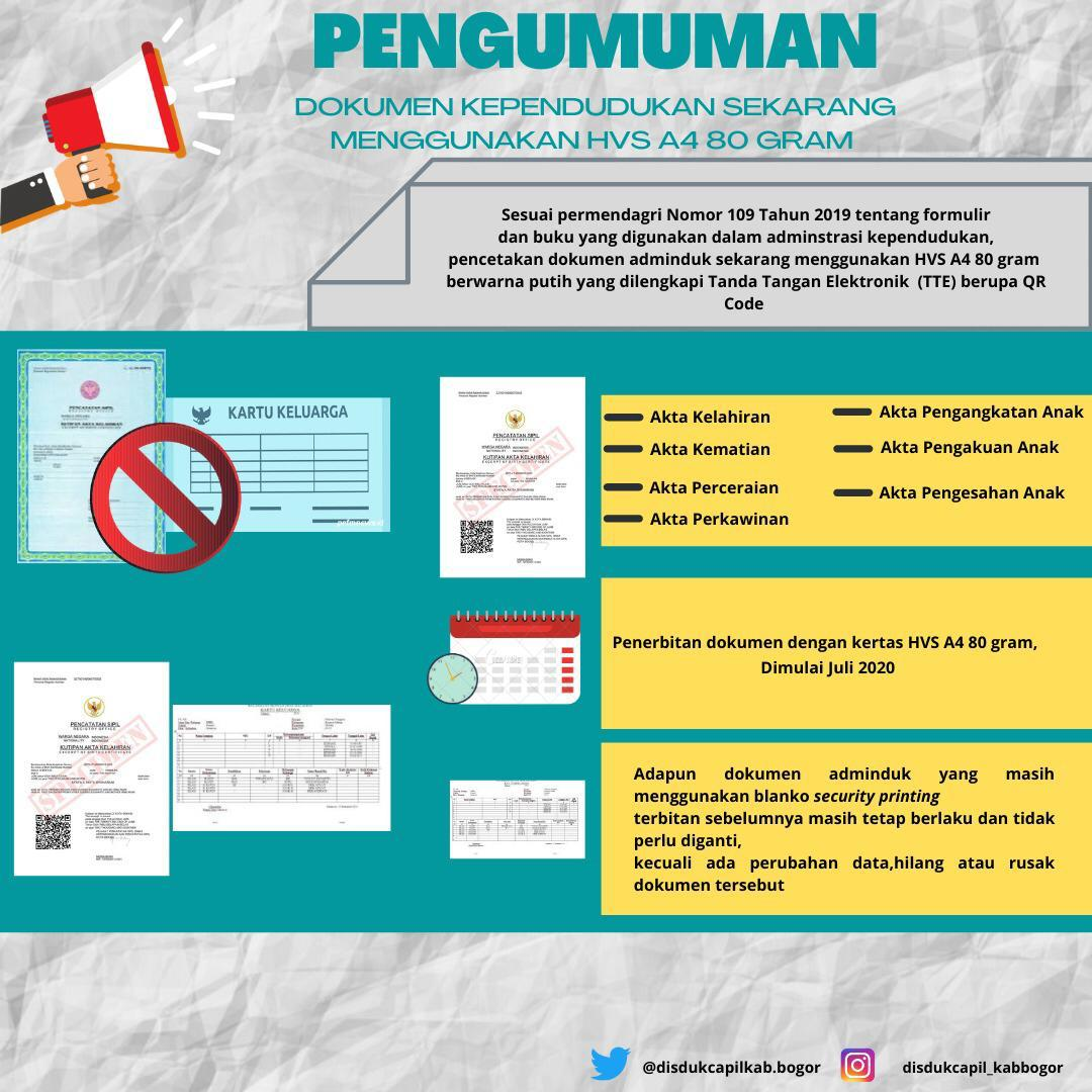 Mulai 1 Juli 2020 Dokumen Kependudukan Menggunakan HVS A4 80 Gram