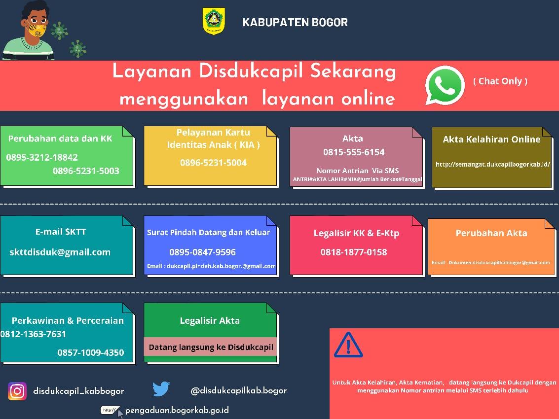 Pelayanan Online Melalui Whatsapp Disdukcapil Kabupaten Bogor