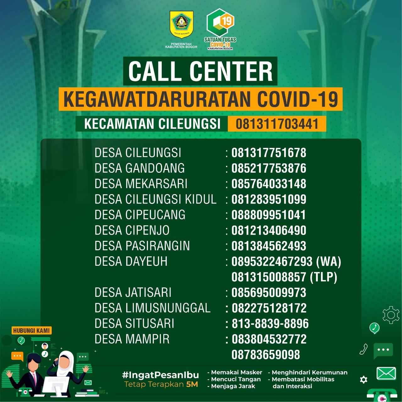 Calll Center Covid-19 Kecamatan Cileungsi